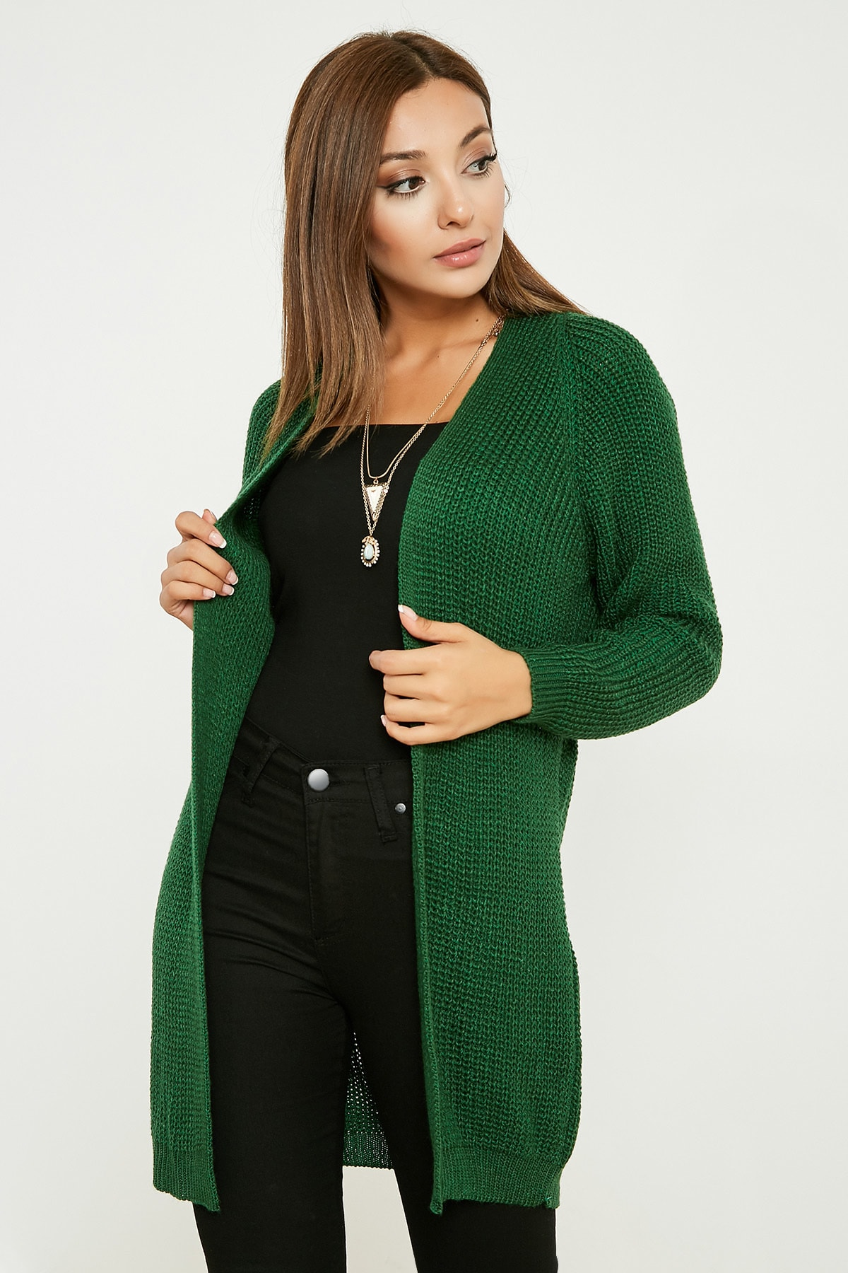 Plain Braided Cardigan - GREEN 20KHI503K106