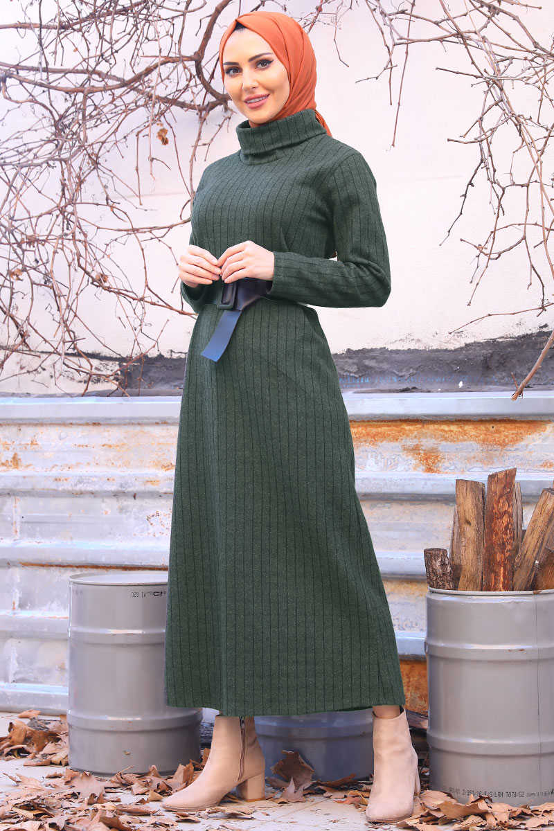 Khaki Color Boydan Striped Turtleneck Dress