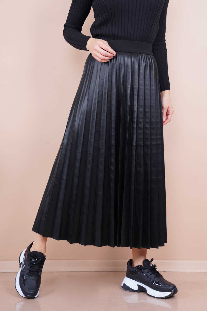 Pleated Black Leather Skirt