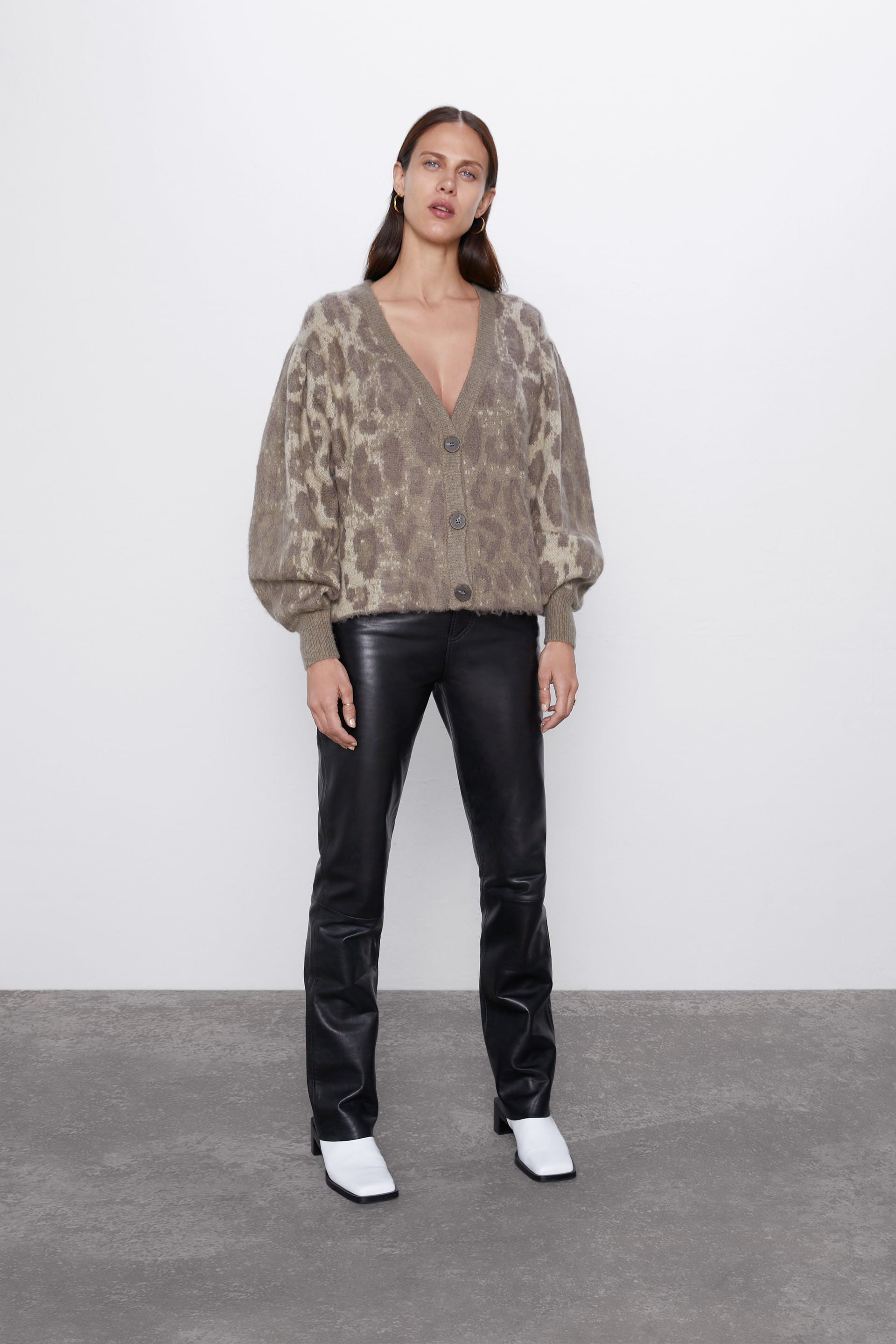 ANIMAL PRINT JACQUARD CARDIGAN