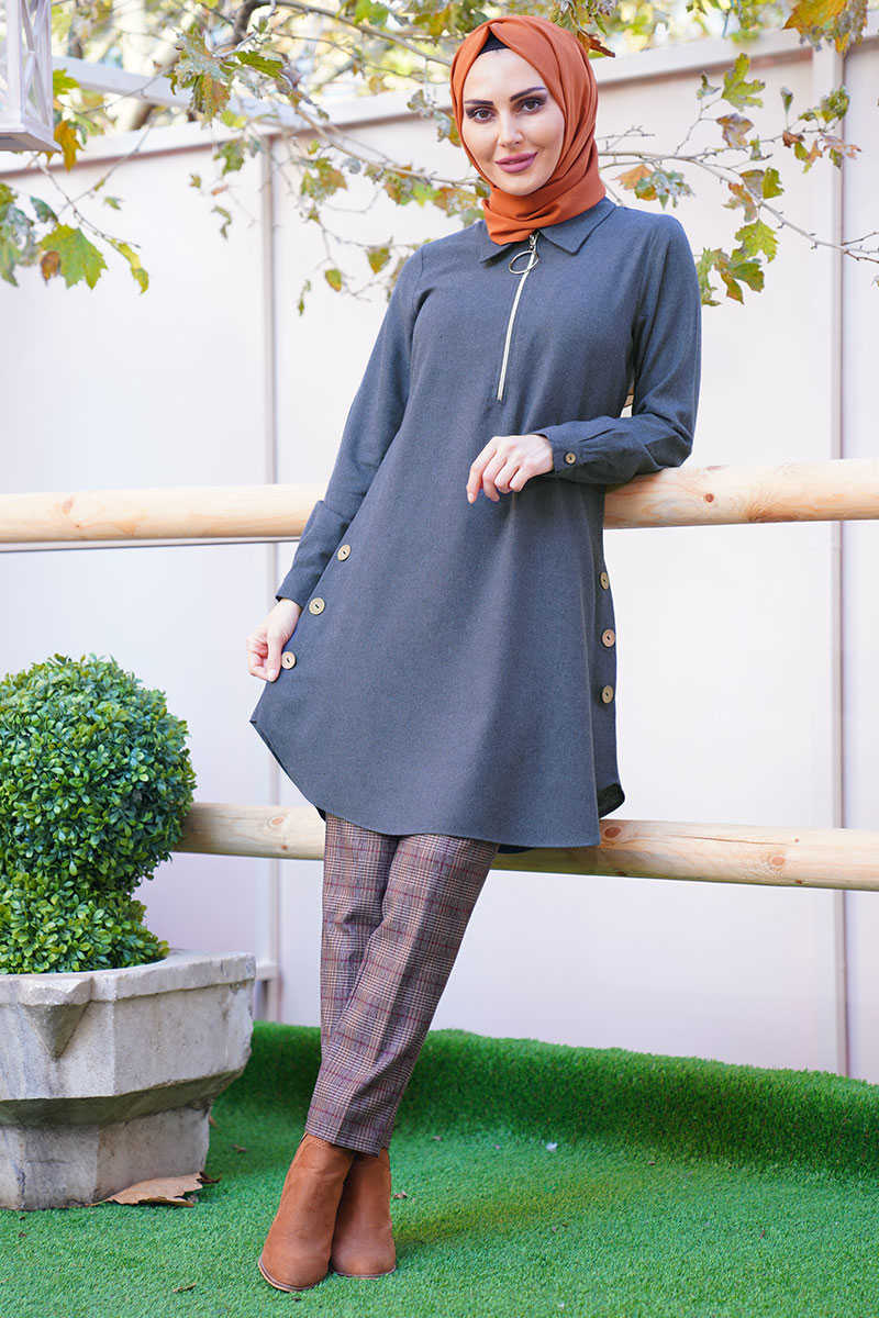 Indigo Collar Zipped Side Button Tunic