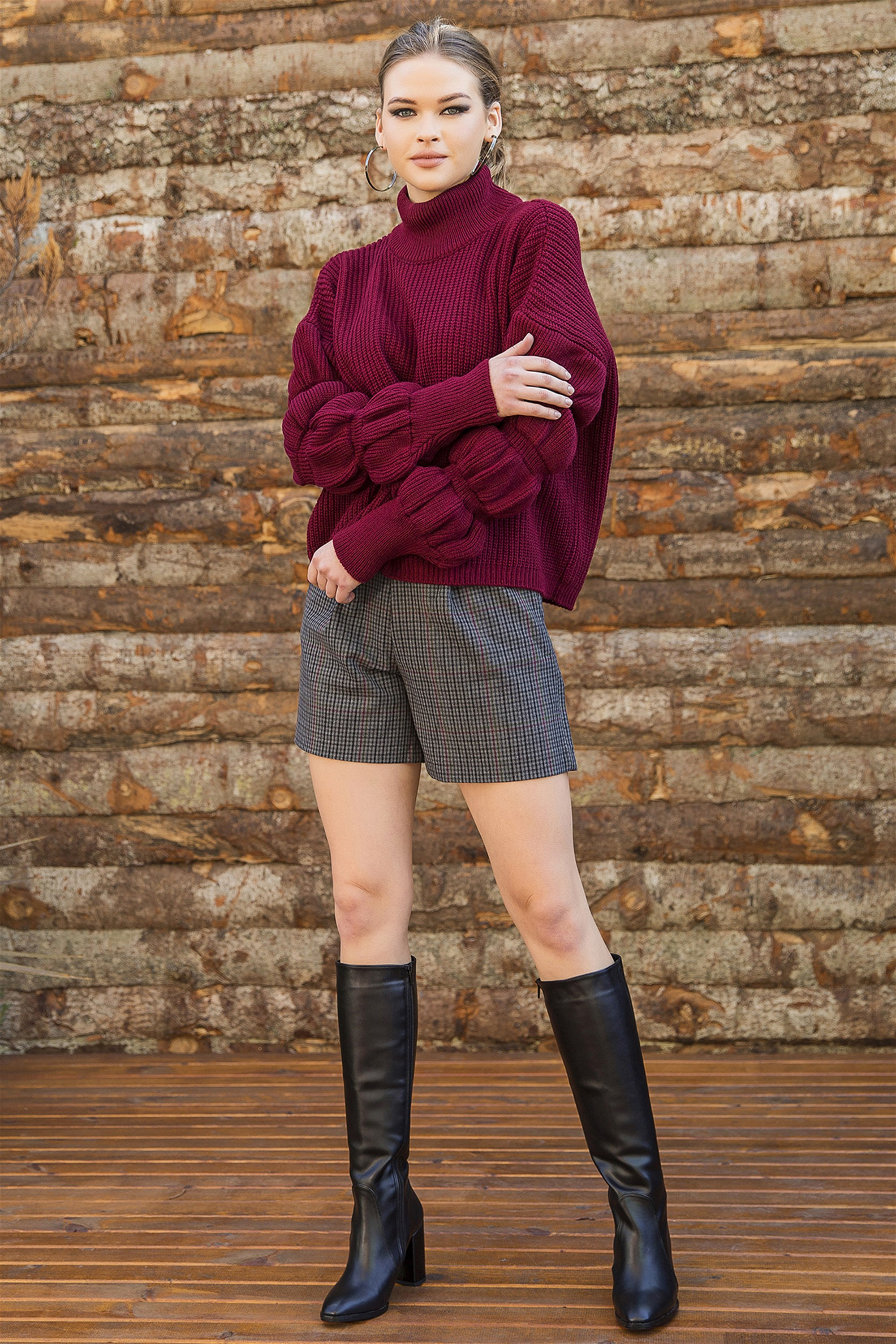 Turtleneck Balloon Sleeve Burgundy Sweater Pullover