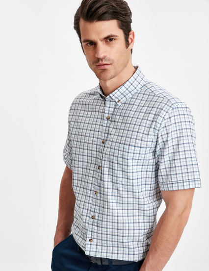 Blue Checkered Short Sleeve Shirt