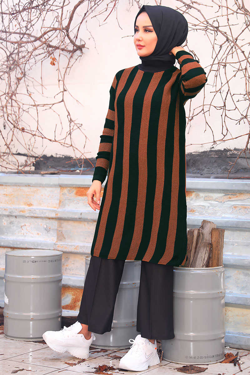 Silvery Vertical Striped Tile Sweater Tunic