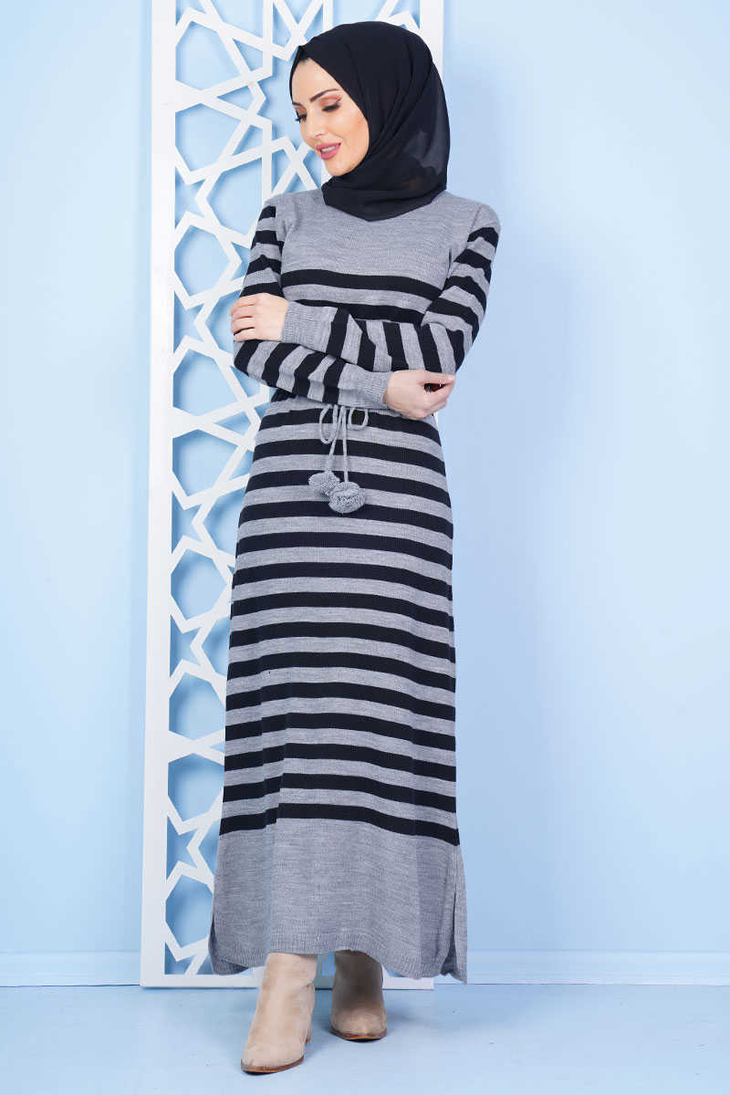 Striped Patterned Gray Sweater Dress