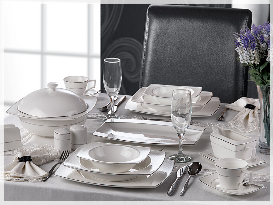 86 pieces Society Platin Luxury Bone China Dining Set
