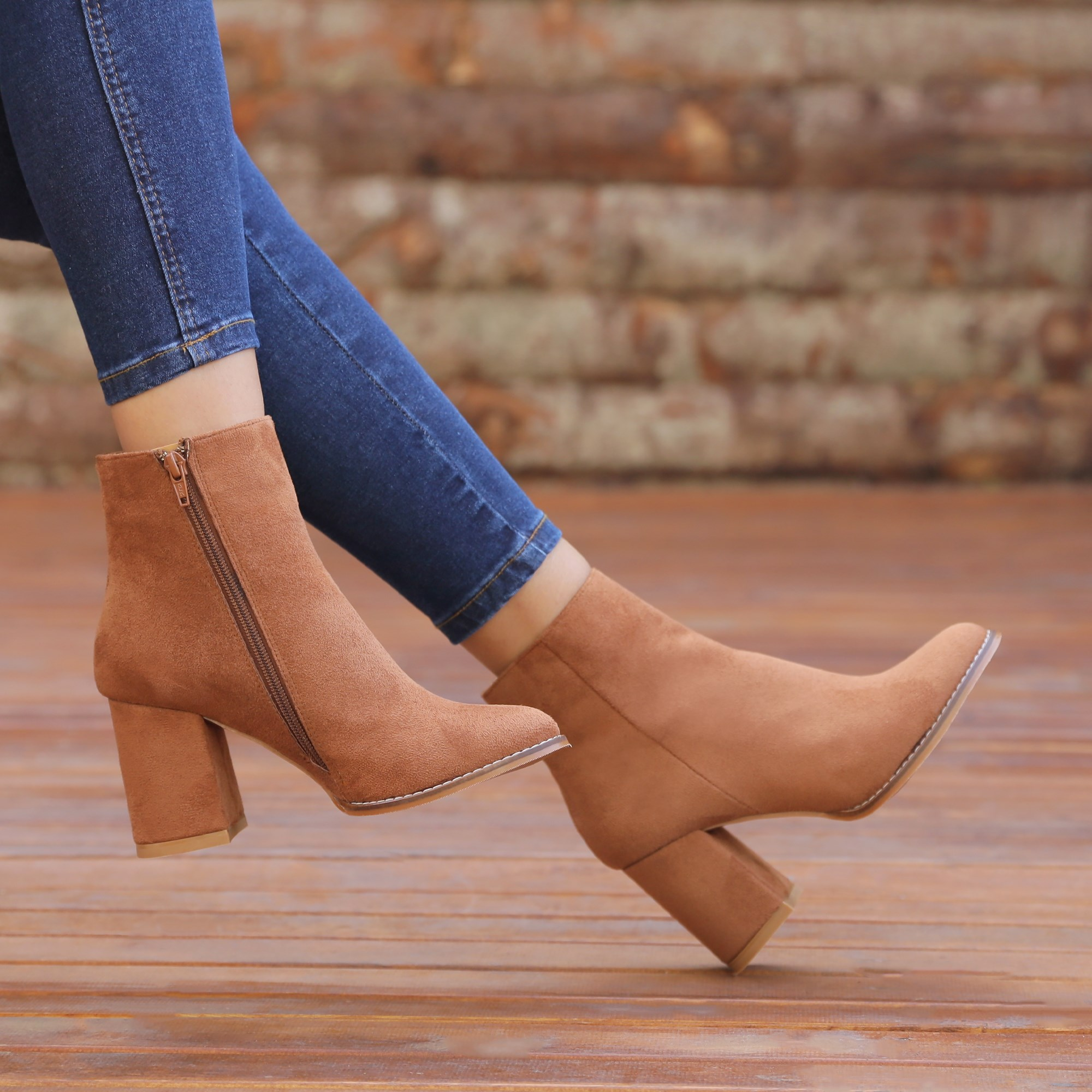 Kotiska Suede Taba Colored Thick Heels Boots