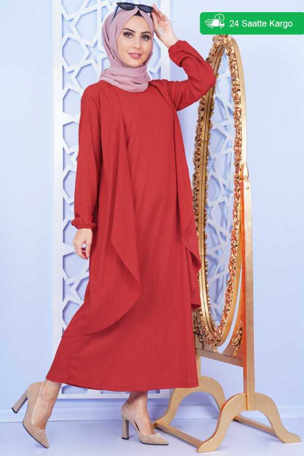 Shawl Collar Red Double Set