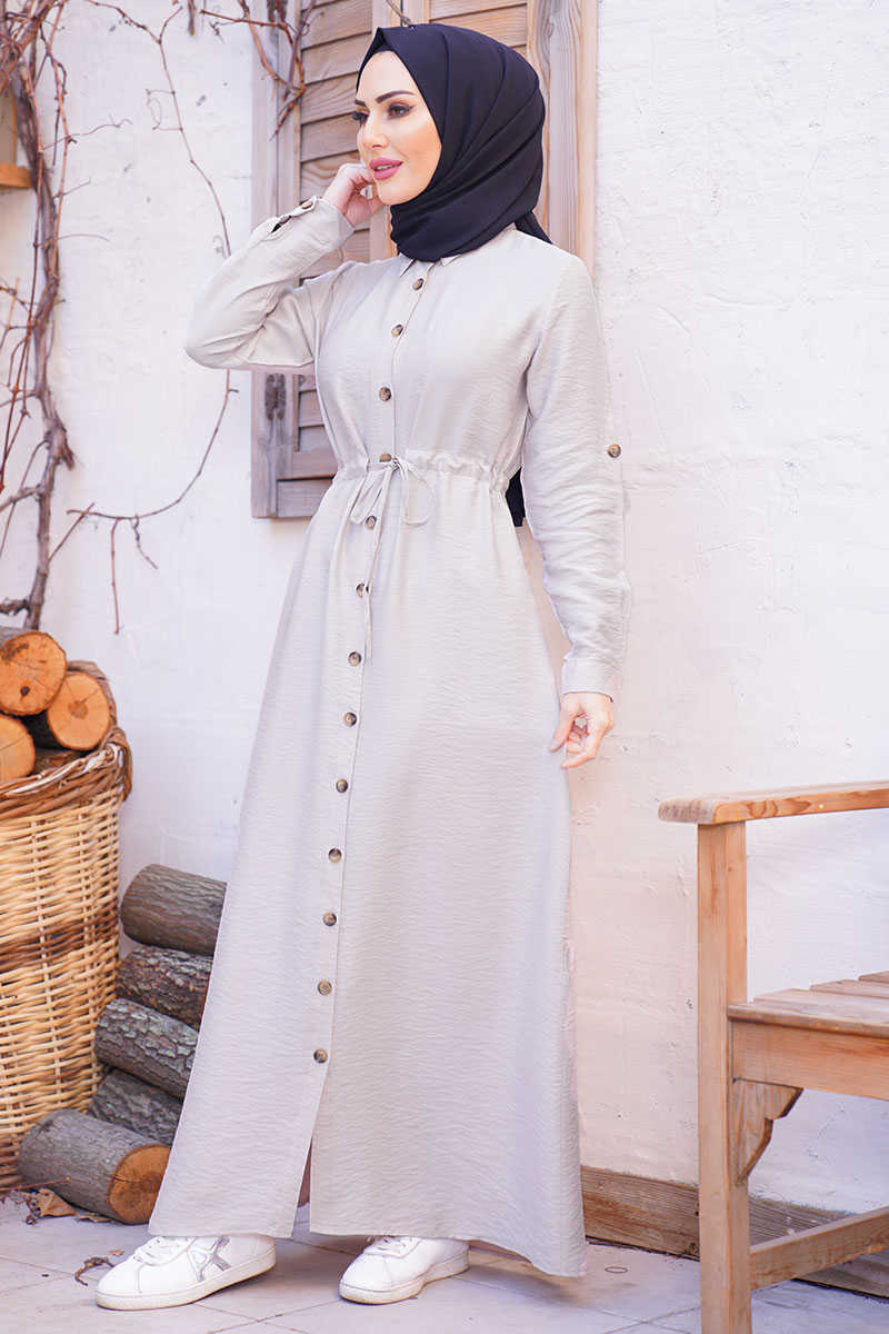 Waist Shirred Stone Hijab Dress