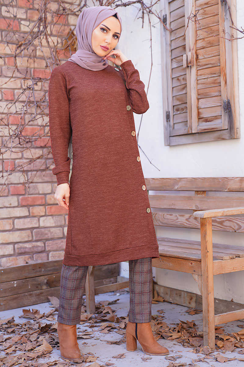Tile Color Wooden Buttoned Sweater Tunic