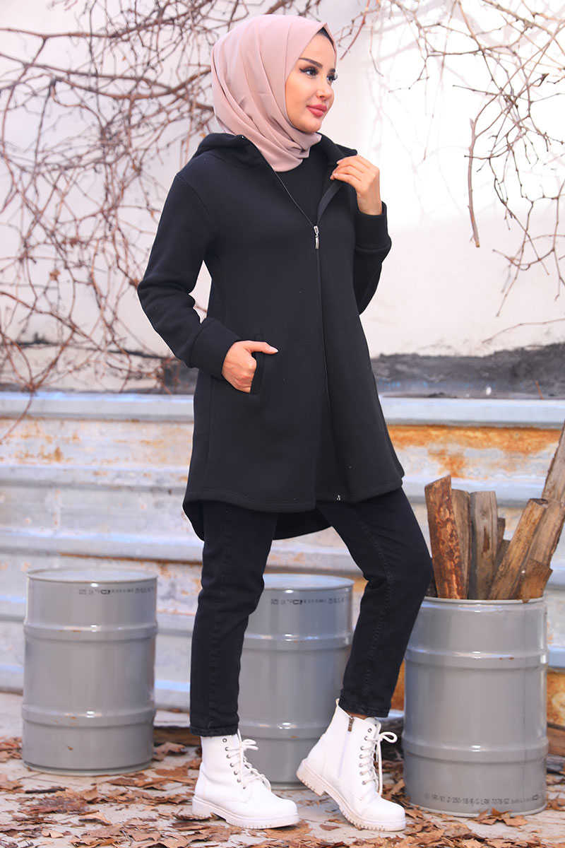 Oval Cut Black Cardigan with Side Pockets