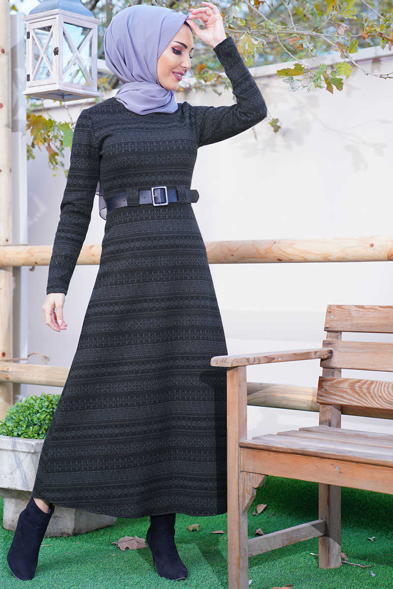 Kilim Pattern Anthracite Colored Belt Dress