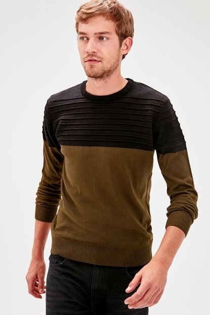 Khaki Men's Paneled Sweater TMNAW20MG0010