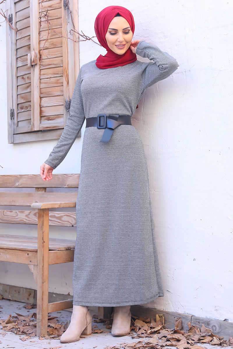 Gray Color Mini Plaid Patterned Belt Dress