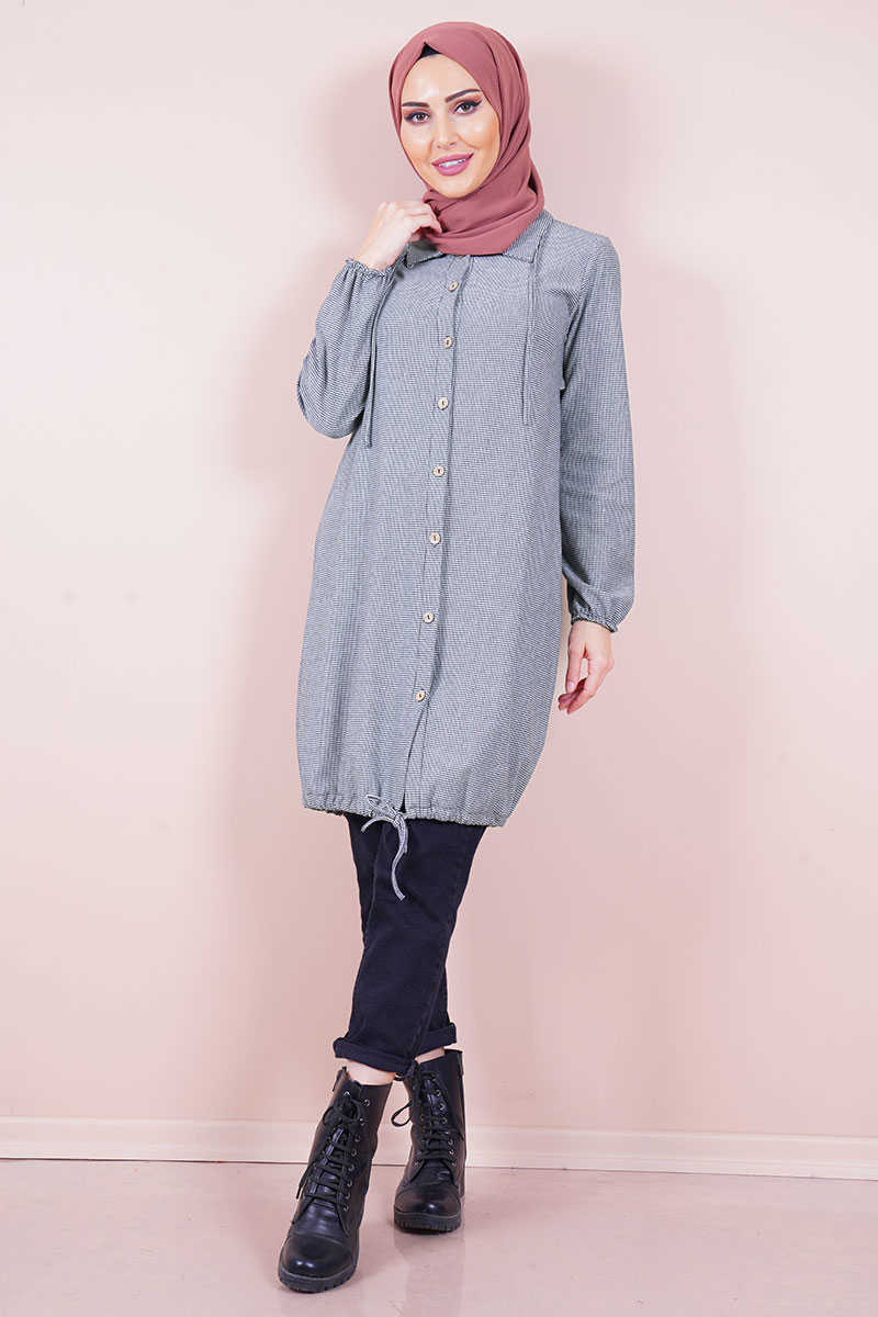 Gray Color Buttoned Tunic