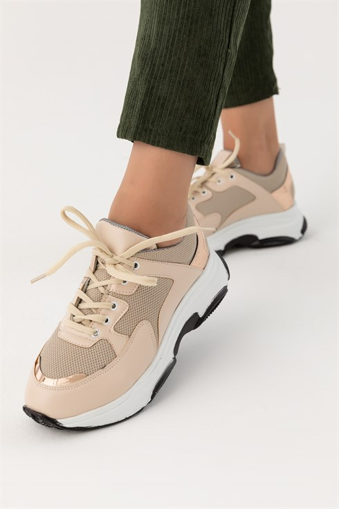 High Sole Lace-up Sneakers - BEIGE