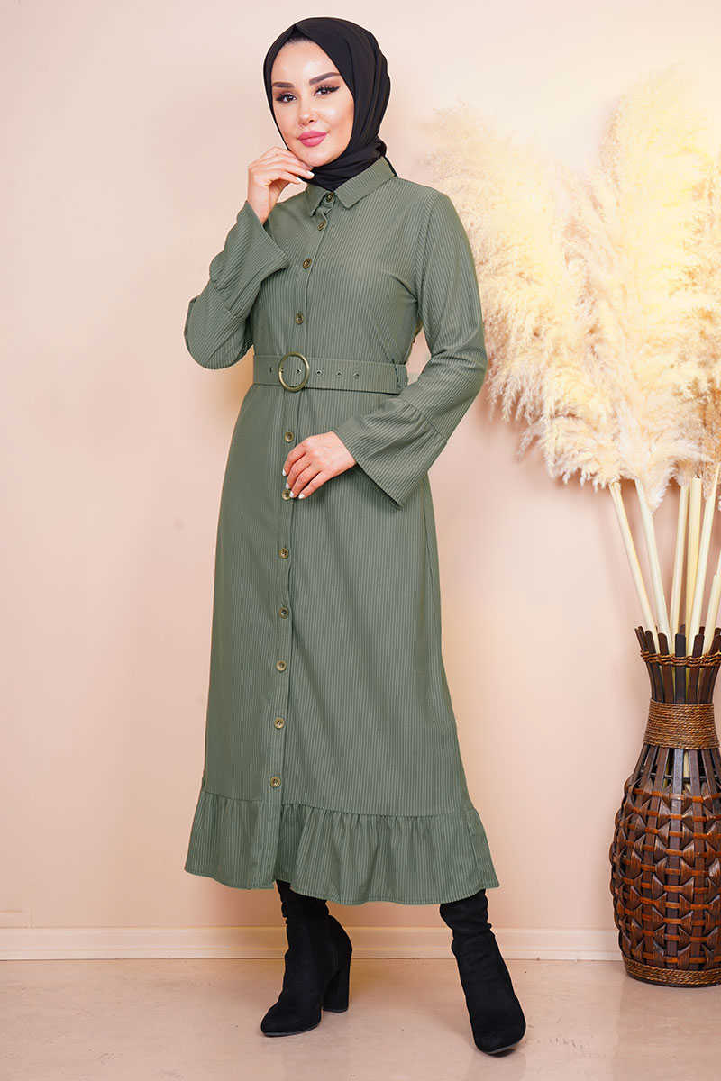 Waist Belted Pleated Sleeve Khaki Dress