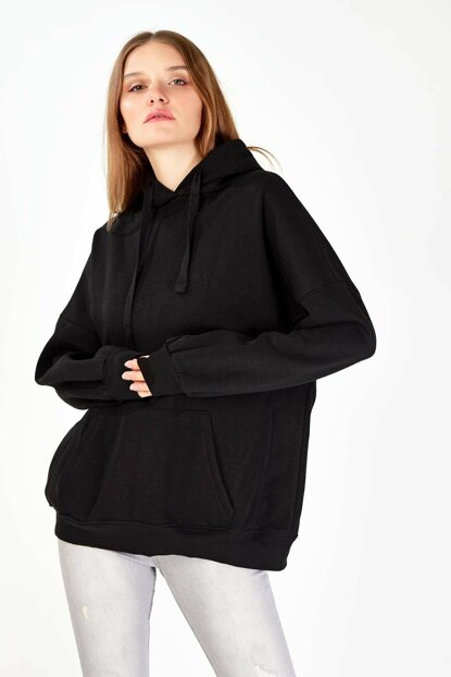 Women Black Hooded Sweatshirt ADX-0000014040