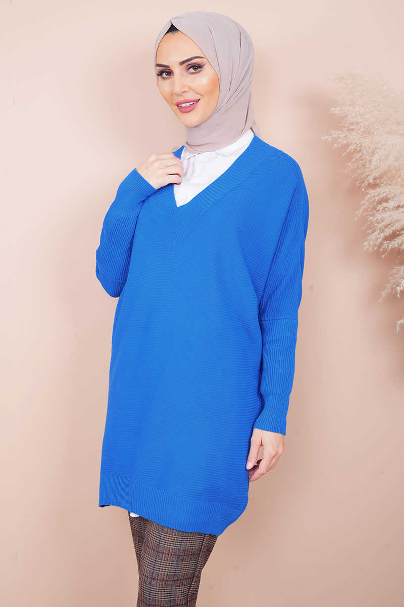 Bat Sleeve V Neck Sax Sweater Tunic