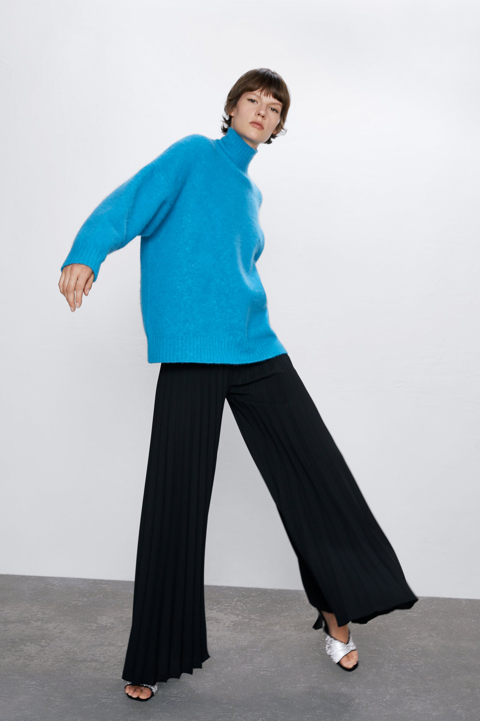 FINELY PLEATED PALAZZO TROUSERS
