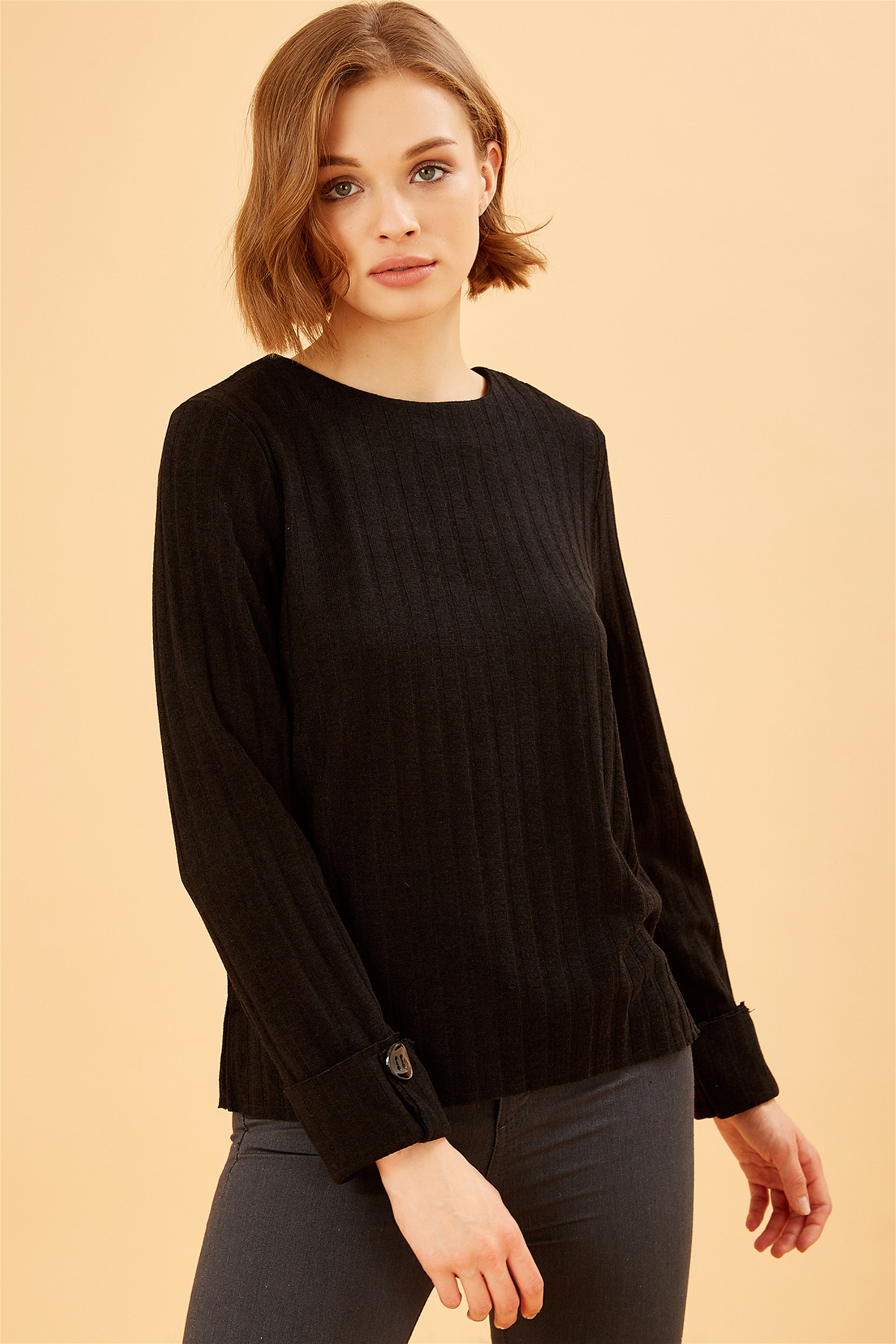 Back and Handle Button Detailed Black Striped Woven Sweater