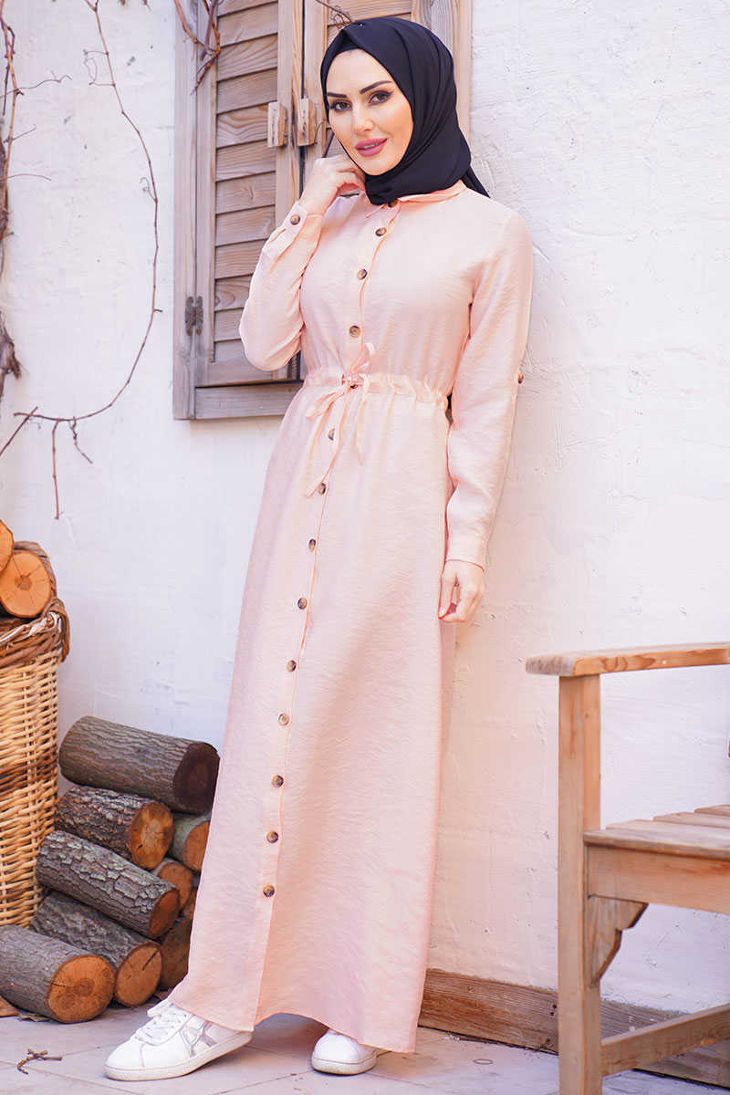 Waist Shirred Salmon Hijab Dress