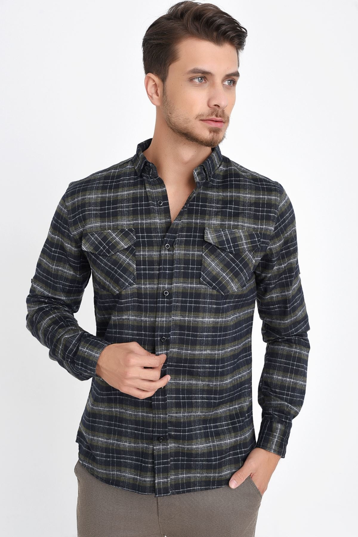 Plaid Wool Men's Shirt P-00006205