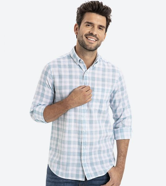Checks Printed Classic Collar Shirt - Blue