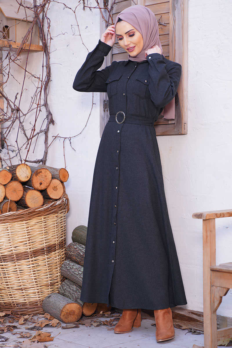 Button Long Model Anthracite Hijab Dress