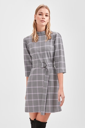 Multi Colored Belted Plaid Dress TWOAW20EL1147