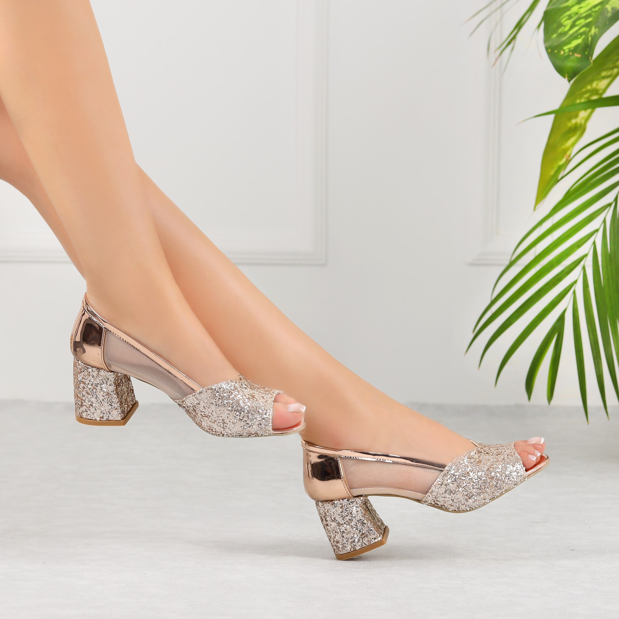 Misinda Bronze Sequin Thick Heels Women Shoes