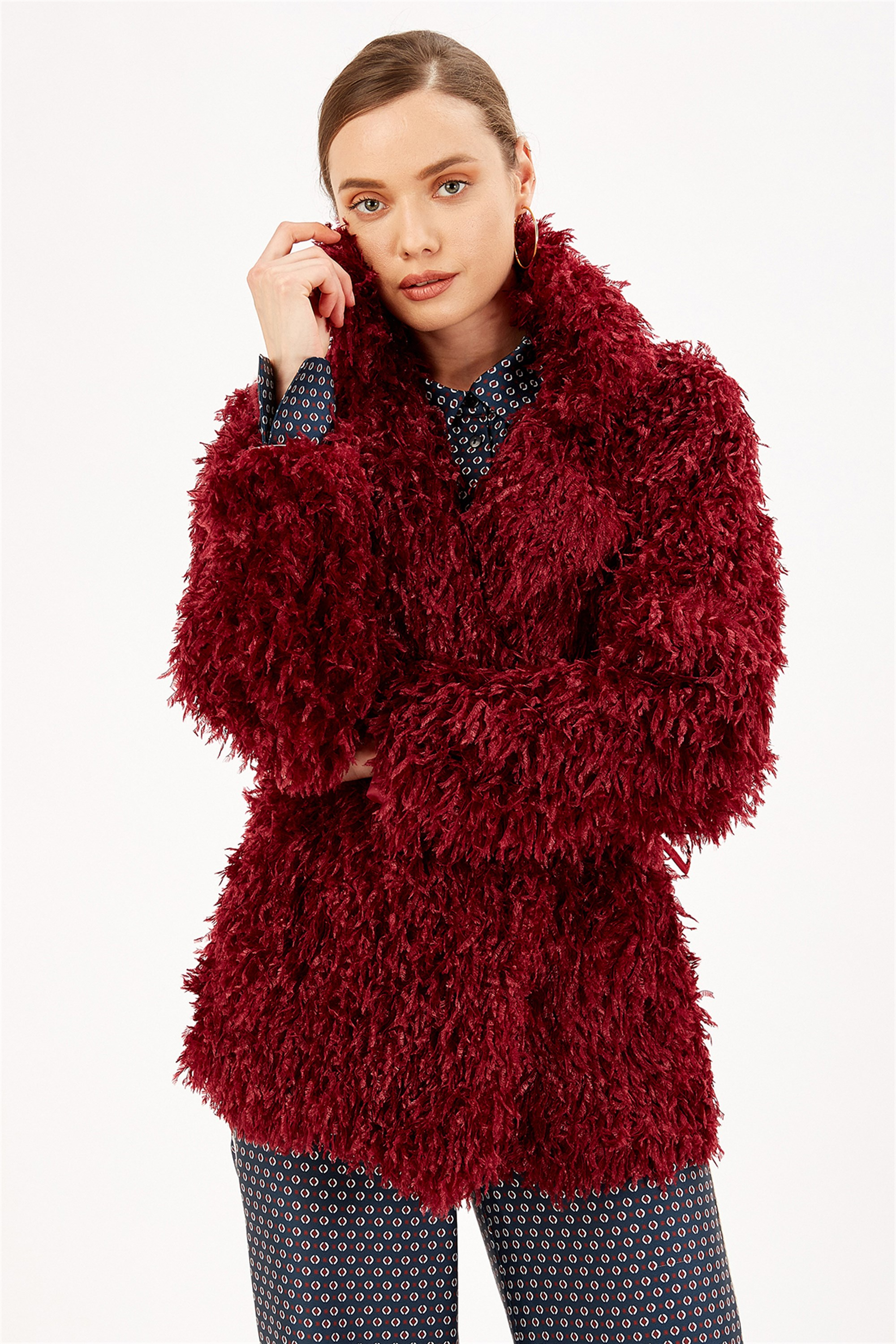 Fringe Fabric Belt Burgundy Coat