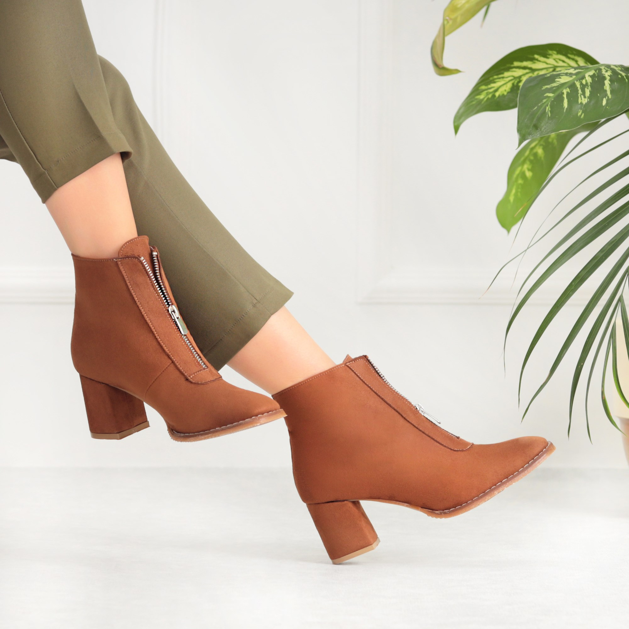 Vitnoye Suede Tan Color Boots Short Thick Heels