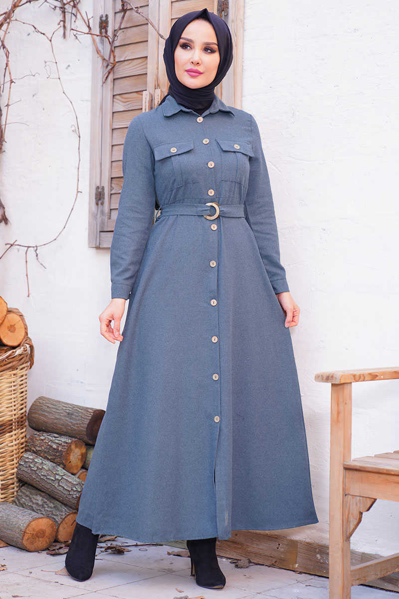 Double Covered Pocket Indigo Hijab Dress