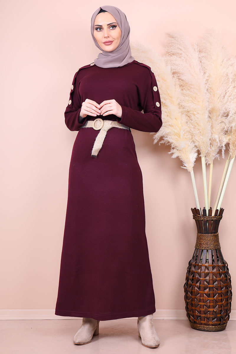 Mesh Belt Burgundy Tricot Dress