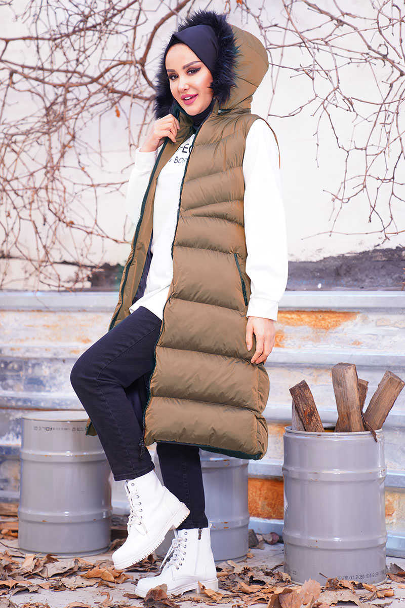 Horizontal Striped Double Pockets Taba Inflatable Vest
