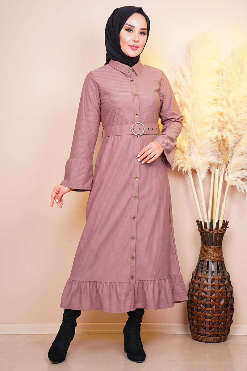 Waist Belted Pleated Sleeve Rose Dried Dress