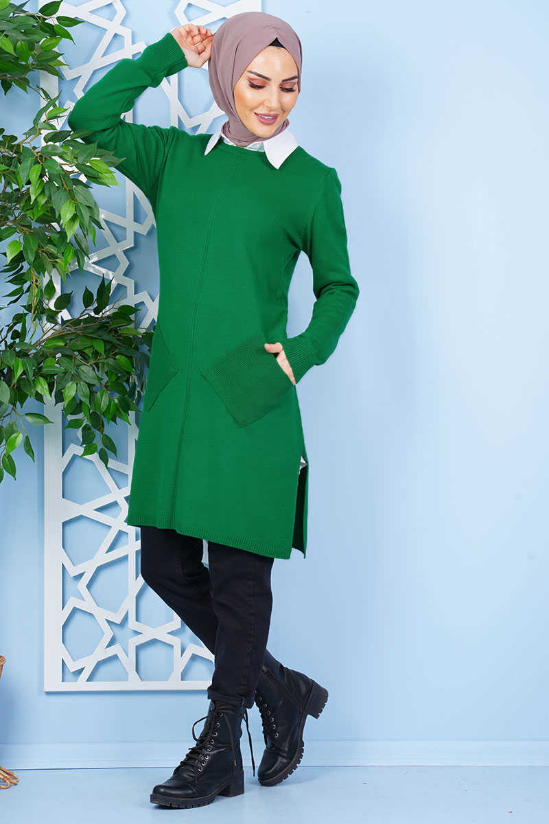 Green Tricot Tunic with Cross Pockets