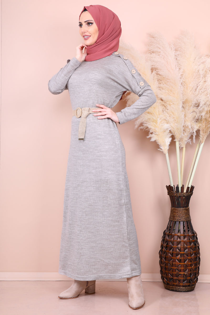 Mesh Belt Beige Sweater Dress