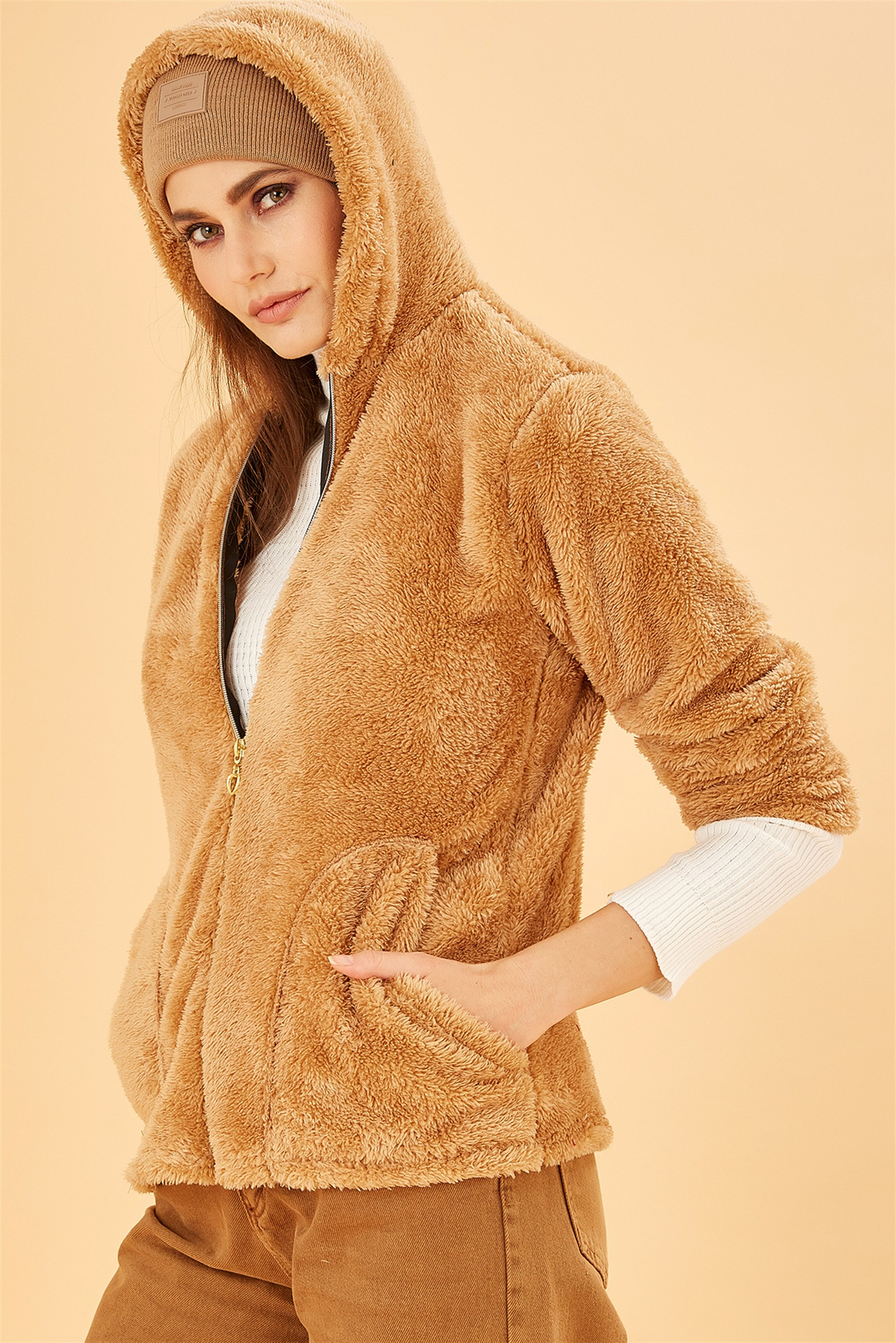 Hooded Front Zippered Camel Plush Coat