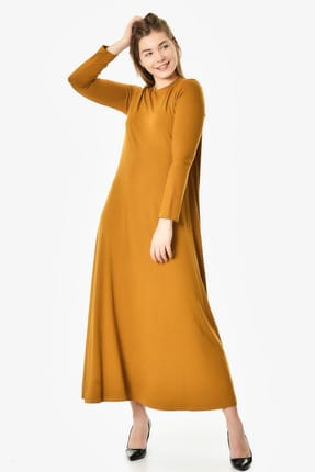 Women's Camel Long Sleeve Combed Dress 3000