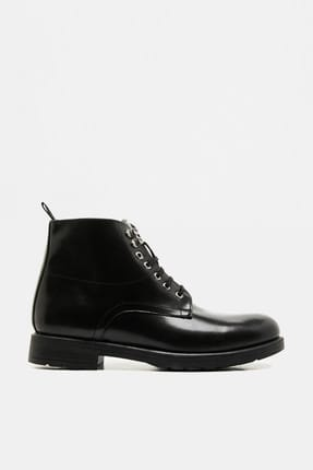 Men's Black Lace-up Boots 9KAM22019OA
