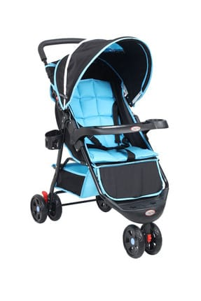 Comfy Three Wheel Baby Stroller Blue Black RV103