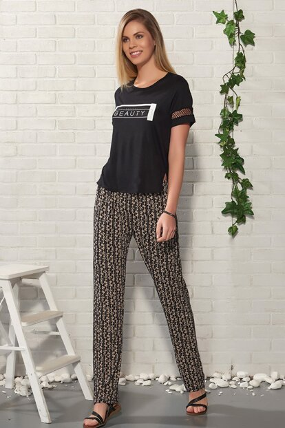 Women's Black Printed Pants Suit 20222