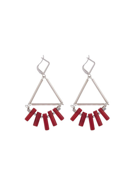 RED LENT SILVER EARRING ESO0054