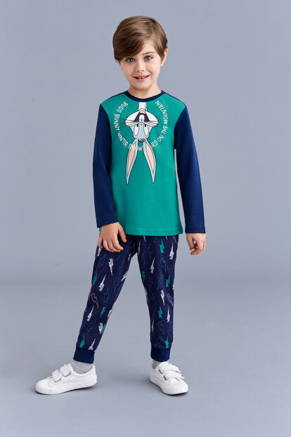 Bugs Bunny Licensed Boy Pajamas Set Green 3-8 Years 10975