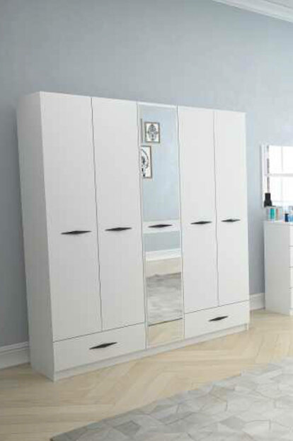 Texas Mirrored 5 Doors With 2 Drawers Young Room (Bright White) 123TEKSAS012
