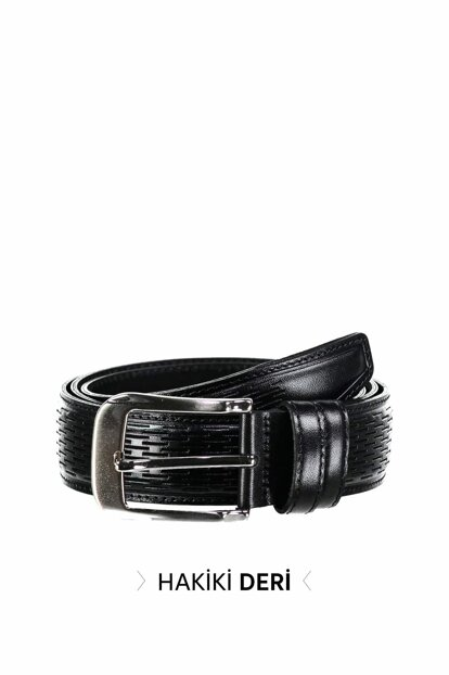 Black Men's Genuine Leather Belt TMNSS19GD0032