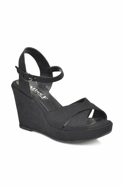 Black Women's Wedge Heeled Shoes 000000000100316464