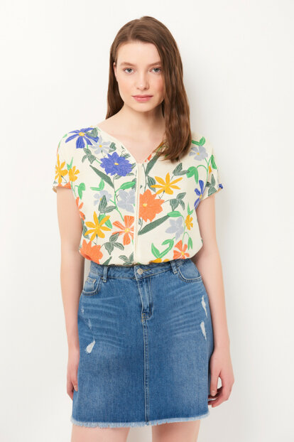 Women's Floral Printed Beige Blouse 122188-28794